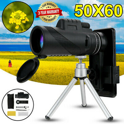 50X60 Focus HD Optics Lens Zoom Portable Monocular Telescope + Tripod +Clip UK