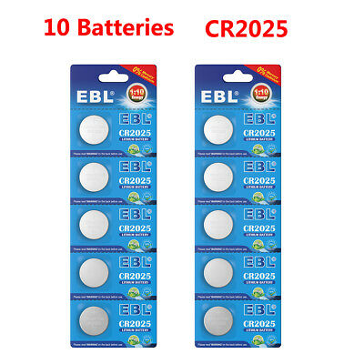 10PCS EBL CR2025 Button Coin Cell Lithium Battery 3V 2025 Batteries Expire 2028