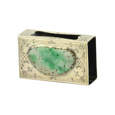 Edward I. Farmer Sterling Silver Matchbox with Jadeite Plaque