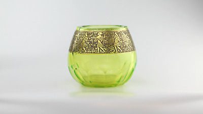 Moser Glassworks Art Deco Uranium Glass Vase with Gold Frieze