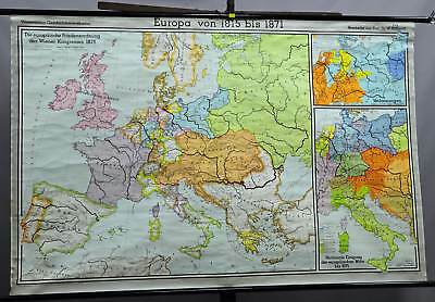 vintage picture poster geographical wall chart, history, map, Europe 1815-1871