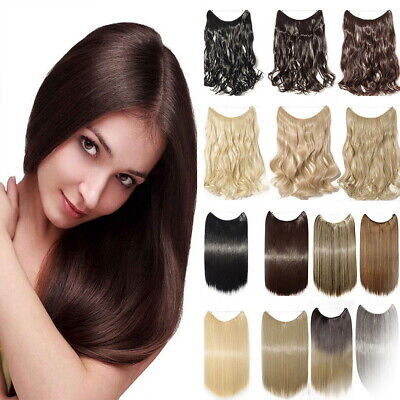 Full Head Hidden Halo Invisible Wire in Hair Extensions Brown Headband Curly