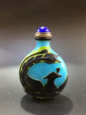 Chinese ancient glazed pure hand-carved Phoenix snuff bottle