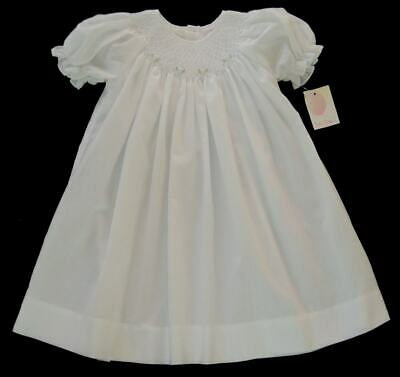 f8d008b52 NWT Girls PETIT AMI White Floral Hand Smocked Bishop Newborn Preemie NB  Dress