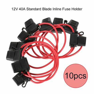 10pc 12V 16A Standard Blade Inline Fuse Holder with Waterproof Dustproof Cover ~