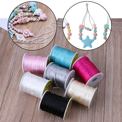 Colorful 80M Satin Silk Rope Nylon Cord For Baby Necklace Teething Cord DIY Tool
