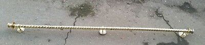 ANTIQUE BARLEY TWIST BRASS CURTAIN POLE RAIL C1920 OLD French 152cm 5ft chunky