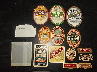 Tooheys Beer Labels X 13 Never Been Used