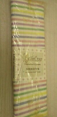 Vintage Nestledown Cotton Candy Stripe Bed Sheets      A-0690-MY-W11