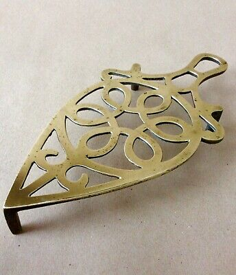 Victorian Cast Brass Iron Stand Or Trivet. Pierced Top With Circular Design.