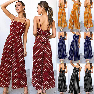 Ladies Wide Leg jumpsuit Polka casual spaghetti strap Dot Jumpsuits Women New