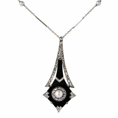 Pendant Art Deco Pearl, Mother of Pearl, Onyx, & Diamonds Platinum Art Deco