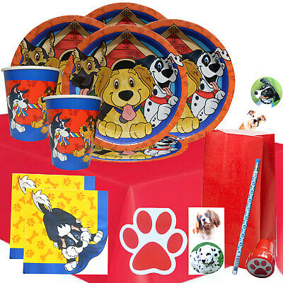 Puppy Party Kit 2R For 8 to 16 Children | Dog Party Tableware Filled Party Bags