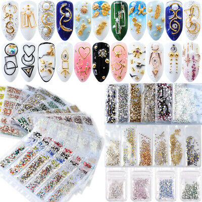 3D Bijoux Ongle Déco Glitter Strass Gel UV Tips Nail Art Decoration 100+ Styles
