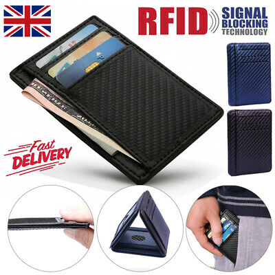 UK Mini Slim Wallet Credit Card Holder Men Money Wallet ID Case PU Leather Purse