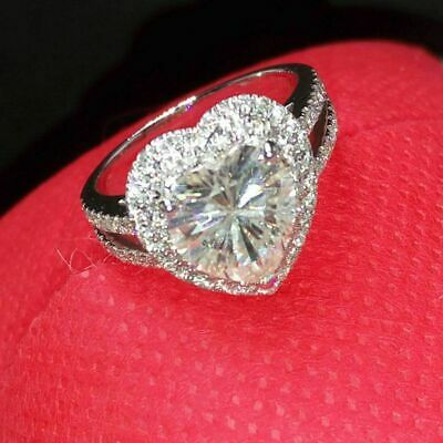 Certified 3.00Ct White Heart Diamond Double Halo Engagement Ring 14k White Gold