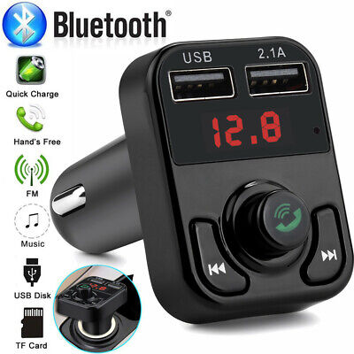 Bluetooth4.1TF Car FM Transmitter Wireless Radio Adapter USB Charger Mp3 Player