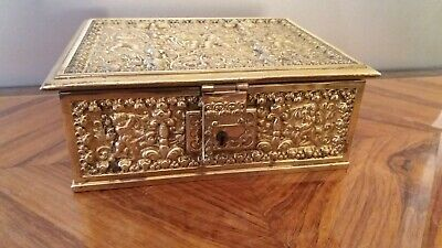 Rare Art Noveau Antique Gilt Filigree Jewellery Box Erhard & Sohne C1910 Art Nouveau Antiques Key