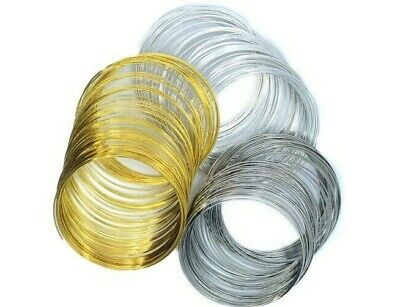 60 COILS MEMORY WIRE 55mm x 0.6mm or 60mm x 0.6mm SILVER PLATINUM & GOLD COLOUR