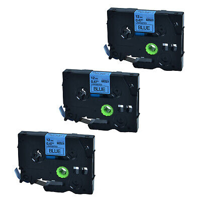 3PK For Brother P-touch PT-D450 12mm*8m TZ-531 Black on Blue Label Tape TZe-531