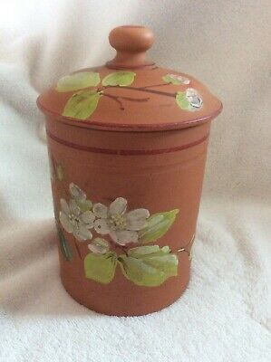VINTAGE WATCOMBE TORQUAY TERRACOTTA CANNISTER ....floral Pattern...lidded