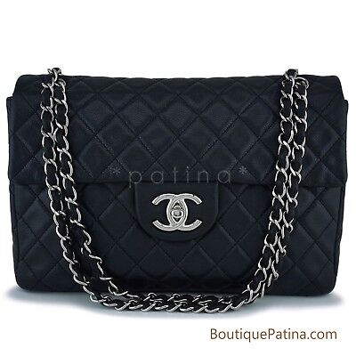 b25a6c437172a0 CHANEL BLACK SOFT Caviar Maxi Jumbo XL Classic Flap Bag SHW 63330 ...