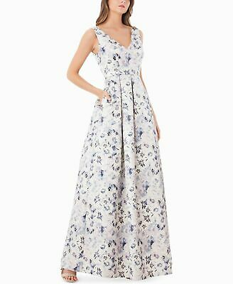 $350 Js Collections Womens White Blue Purple Metallic Floral Gown Dress Size 14