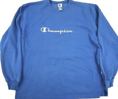 VINTAGE 90s CHAMPION brand SCRIPT SWEATSHIRT embroidered spell-out blue mens 2XL