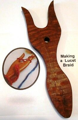 Lucet for Braiding & Cording~Exotic Leopardwood~Easy To Learn Instruction Book