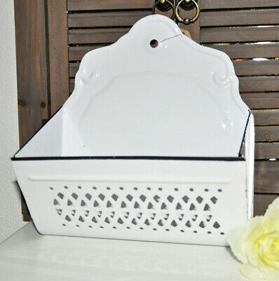 #10351 Emaille Email Zwiebel Wand Metall Korb Deko Weiss French Shabby Chic