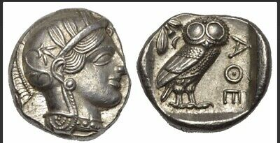 ANCIENT GREEK SILVER COIN TETRADRACHM ATHENS / OWL WITH PROVENANCE 17.21gr 26.1m