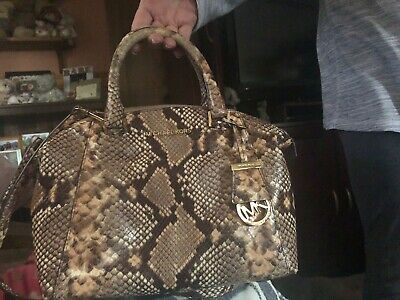 2f74a924290a Michael Kors Riley Small Satchel Python Embossed Leather Shoulder Hand Bag