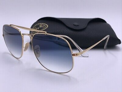 00a157f02d RAY BAN 3561 57 001 3F Gold General Sunglasses Gold Blue Gradient ...