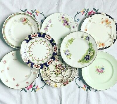 *8 Pretty Vintage Mismatched 🌸 Floral Bone China Tea Set Tea Cake Side Plates*