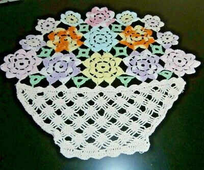 Vintage Colourful Cotton Hand Worked Crochet Lace Table Centre/doily