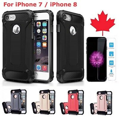 For iPhone 7 8 Case - Full Body 360 Shockproof Heavy Duty Cover Tempered Glass