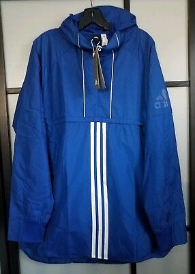 Adidas Men's Athletics ID Woven Anorak CV3269 Royal Blue Pullover Jacket Size L