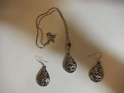 Set - Tibetan Silver Patterned Pendant and Earrings