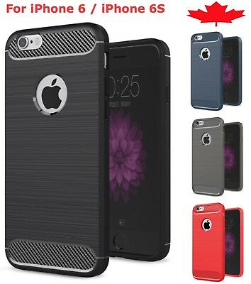 For iPhone 6 6S Carbon Fiber Armor Cover TPU Heavy Duty Hybrid Soft Phone Case