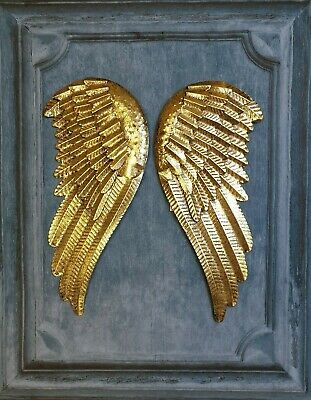 Antique Gold Metal Angel Wings Wall Mounted Art Feather Decor Hanging Home Gift