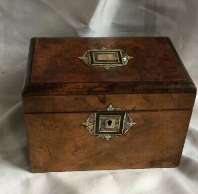 Antique Treen Wooden Ware Walnut Tea Caddy Box,shell Inlaid,period,20.5Cm Wide