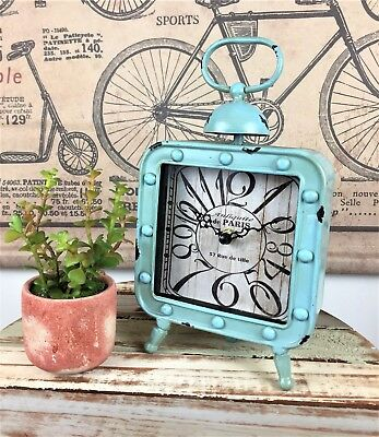 Industrial vintage metal duck egg blue square retro mantle clock shabby chic NEW
