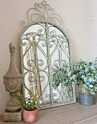 Shabby French Country Chic Cream Metal Arched Window Wall Mirror Home Garden