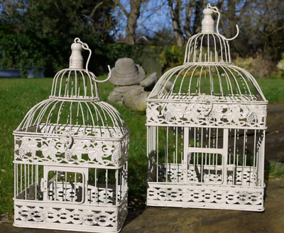 Set of Two Cream Shabby Vintage Chic Ornate Metal Birdcages Wedding Home Decor