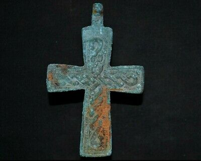 Ancient Viking Bronze Cross. Rare Amulet with Norse Eternity loop, c 950-1000 Ad
