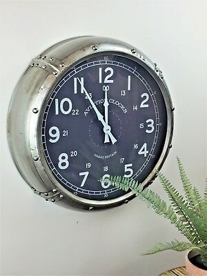 Large Silver Metal Industrial Vintage Wall Clock Retro Aviation Home Decor