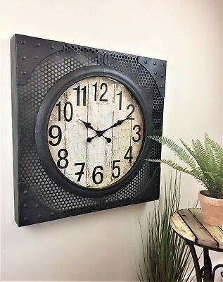 LARGE square Metal Industrial retro urban style wall clock 70cm square