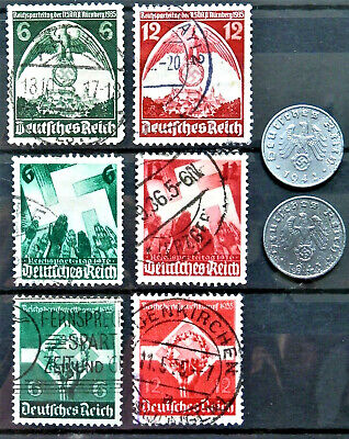 WW2 REAL HITLER NAZI 3rd REICH ERA GERMAN SET OF 6 STAMPS USED AND 2 NAZI COINS
