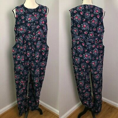 90s Laura Ashley Playsuit Small Jumper Jump Suit Roses Corduroy Great Britain