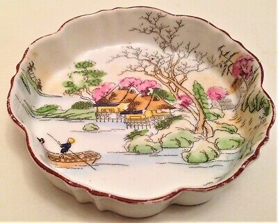 Antique / Vintage Japanese Small Porcelain Pin Dish made in Japan 10cm